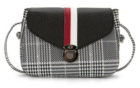 Stripe Color Crash Lock Satchel Crossbody Bag - BLACK