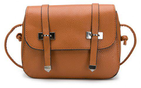 Lychee  Double Arrows Striped Small Square Bag Satchel - BROWN