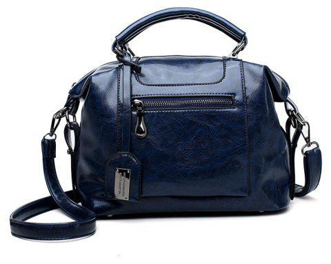 Womens Pail Bucket Seams Stitching Ladys Handbag - BLUE