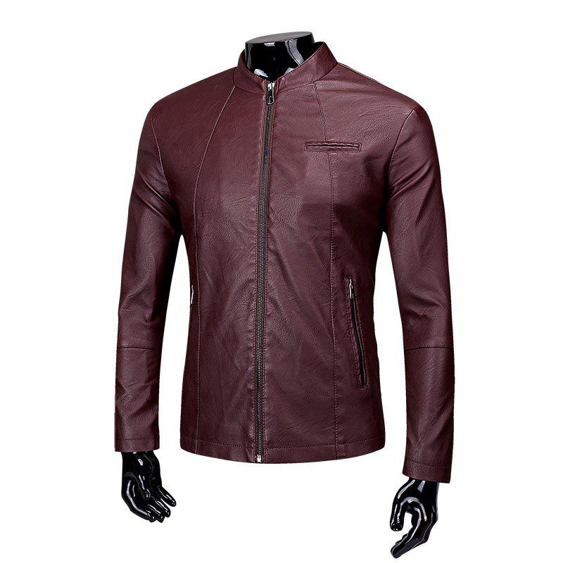 Men'S Fashion Collar Leather Jacket - RED WINE L