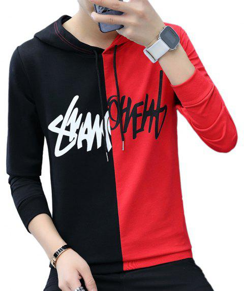 Men'S Color Matching Personality Sweater Hoodie - RED 3XL