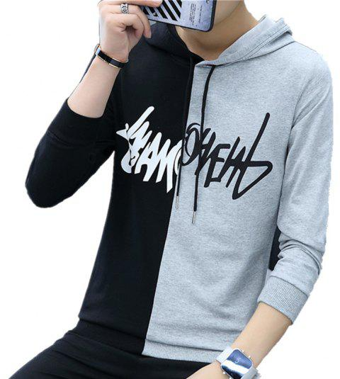 Men'S Color Matching Personality Sweater Hoodie - LIGHT GRAY M