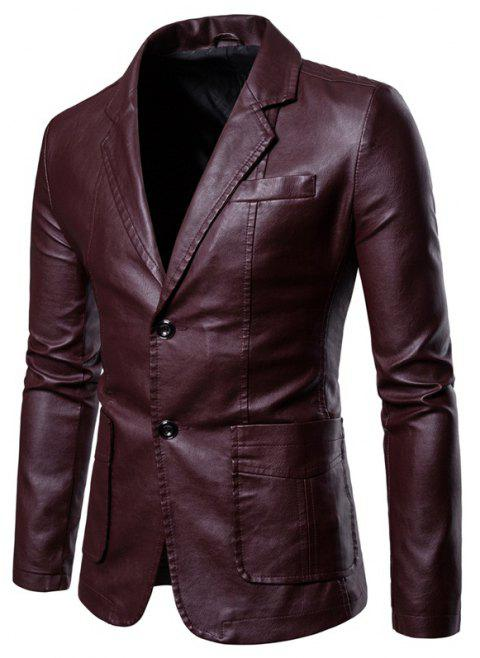 Men'S Lapel Fashion Leather Jacket - RED WINE 2XL