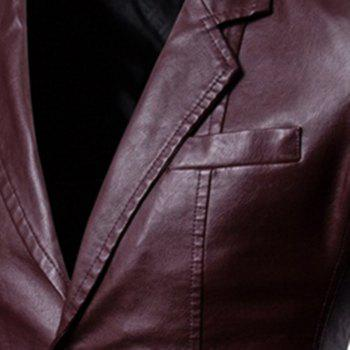 Men'S Lapel Fashion Leather Jacket - RED WINE XL