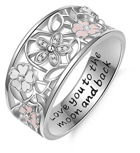Creative Epoxy Studded Cherry Blossom Ring - SILVER US 6