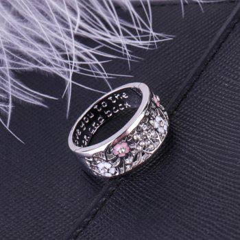 Creative Epoxy Studded Cherry Blossom Ring - SILVER US 9
