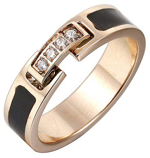 Women's Fashion Temperament Diamond Black Titanium Steel Ring - GOLD US 7
