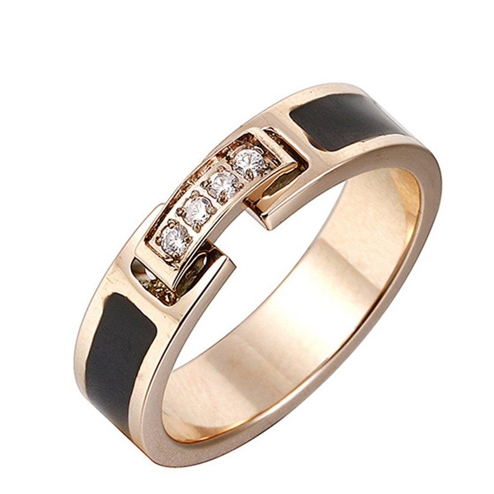 Women's Fashion Temperament Diamond Black Titanium Steel Ring - GOLD US 9