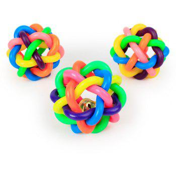 Colorful Belts Woven Rubber Ball Dog Toy - multicolor A
