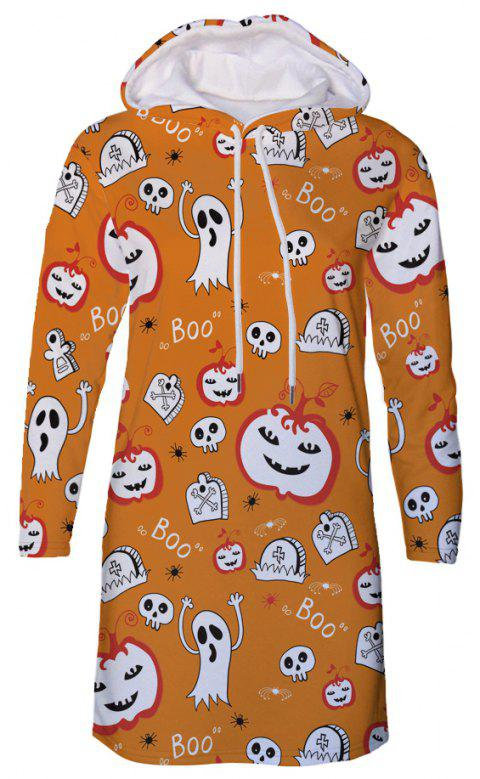 Horror Halloween Funny Print Women's Hooded Dress - multicolor C XL