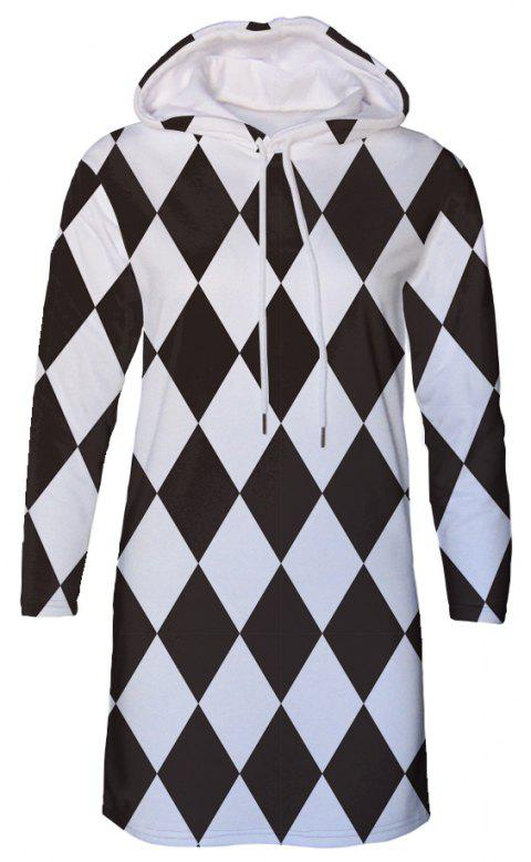 Black and White Plaid Diamond Print Autumn Winter Women's Hooded Dress - JET BLACK XL