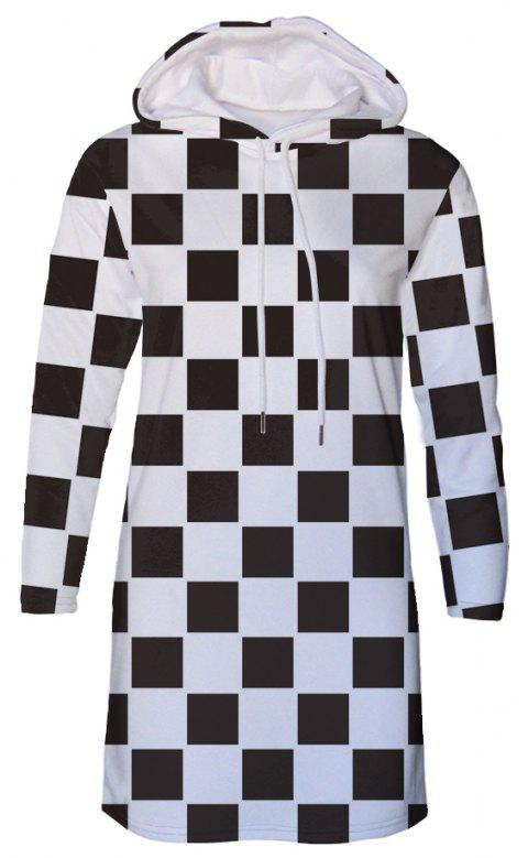 Black and White Plaid Diamond Print Autumn Winter Women's Hooded Dress - BLACK M