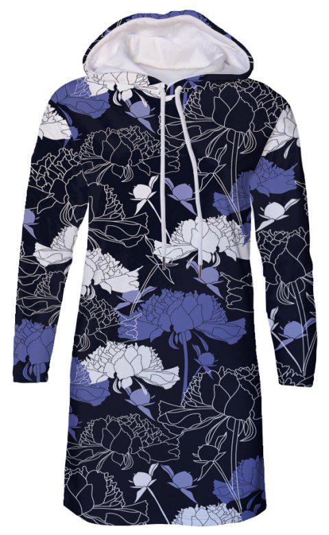 Fashion Flower Print Women's Hooded Dress - multicolor A M
