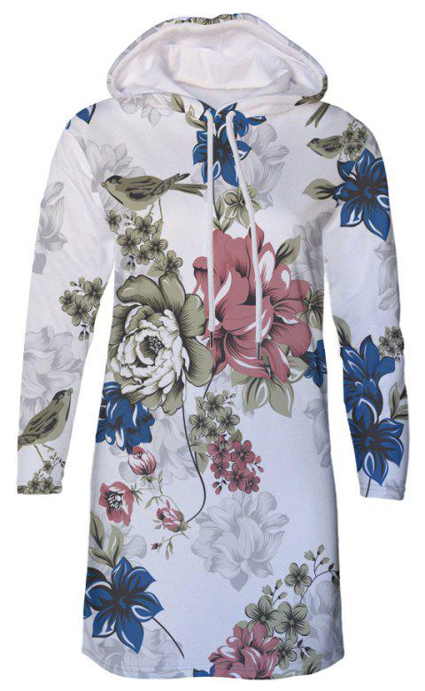 Flower Print Women's Hooded Dress - multicolor C XL