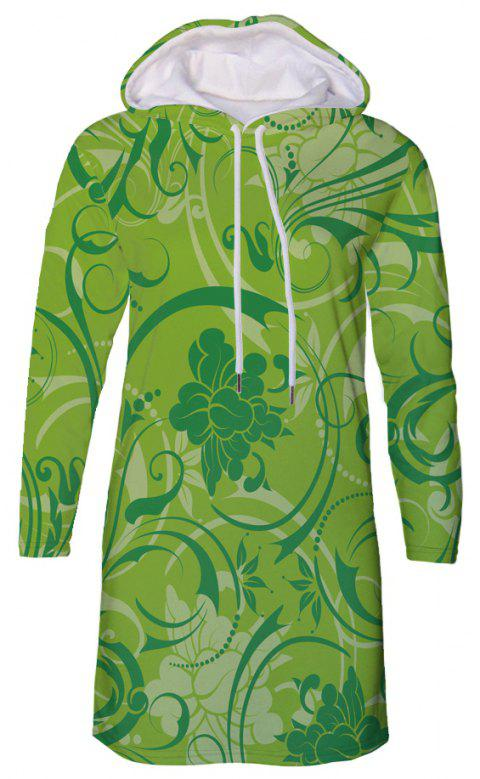 Flower Print Women's Hooded Dress - multicolor A 2XL