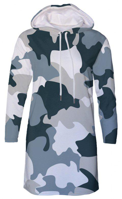 Forest Camouflage Print Autumn Winter Women's Hooded Dress - NAVY CAMOUFLAGE 2XL