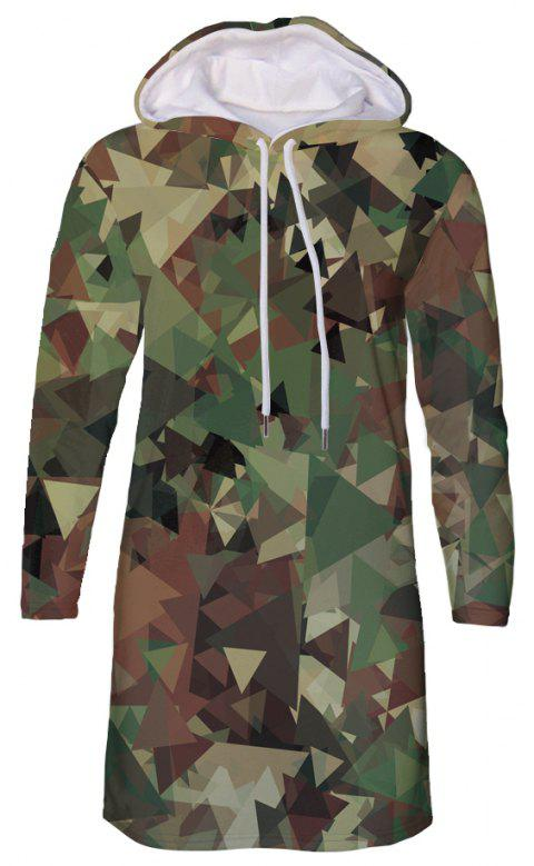 Forest Camouflage Print Autumn Winter Women's Hooded Dress - ACU CAMOUFLAGE L