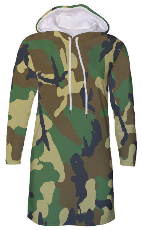 Forest Camouflage Print Autumn Winter Women's Hooded Dress - DIGITAL WOODLAND CAMOUFLAGE XL
