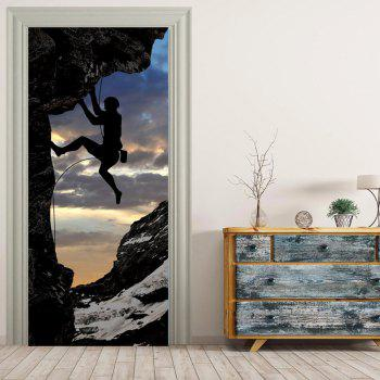 MailingArt 3D HD Canvas Print Door Wall Sticker Mural Home Decor Climber - multicolor 77 X 200CM
