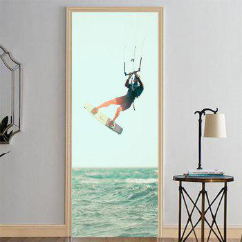 MailingArt 3D HD Canvas Print Door Wall Sticker Mural Home Decor Sports Man - multicolor 77 X 200CM