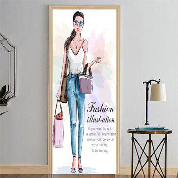 MailingArt 3D HD Canvas Print Door Wall Sticker Mural Home Decor Fashion Lady - multicolor 77 X 200CM