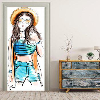MailingArt 3D HD Canvas Print Door Wall Sticker Mural Home Decor Fashion Girl - multicolor 77 X 200CM