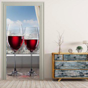 MailingArt 3D HD Canvas Print Door Wall Sticker Mural Home Decor Wine Cup - multicolor 77 X 200 CM