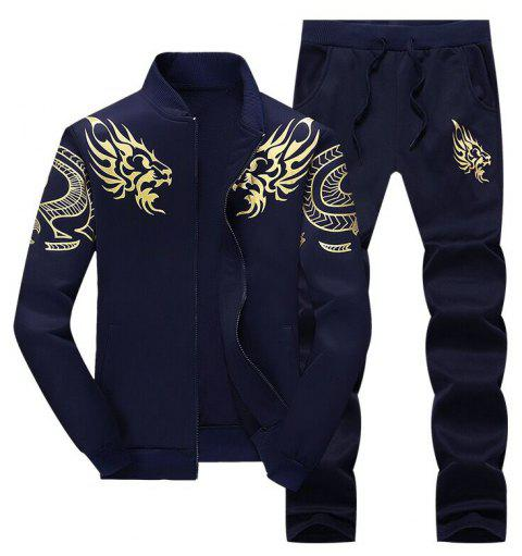 Men Cozy Hooded Pullover Long Pants Casual Set - DEEP BLUE L