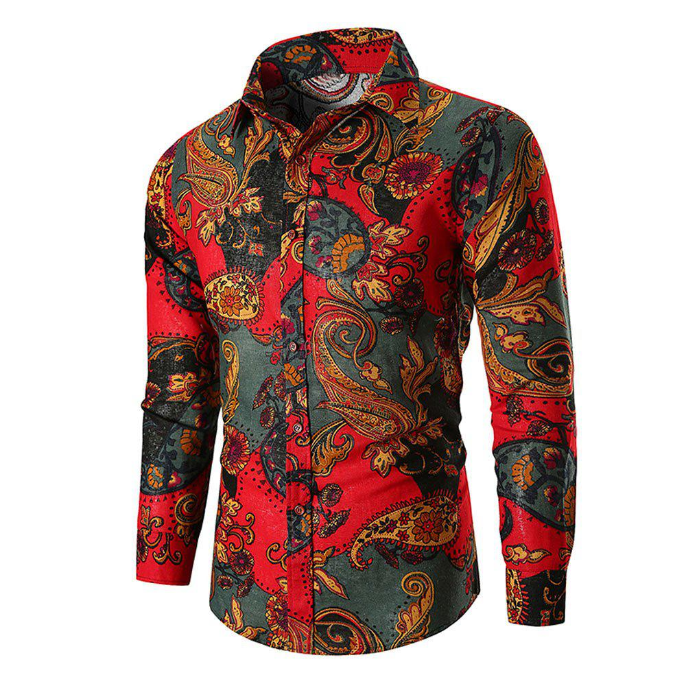 Men's  Long Sleeve Large Size National Wind Cotton Twist Shirt - RED L