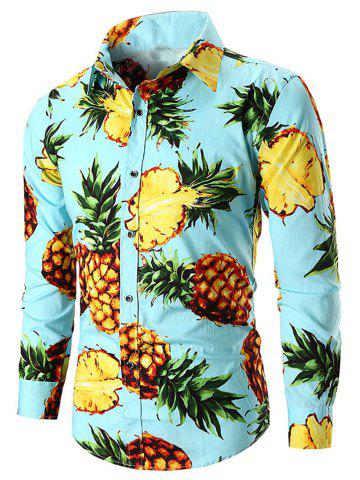 Men's  Long Sleeve Large Size Pineapple National Wind Cotton Shirt