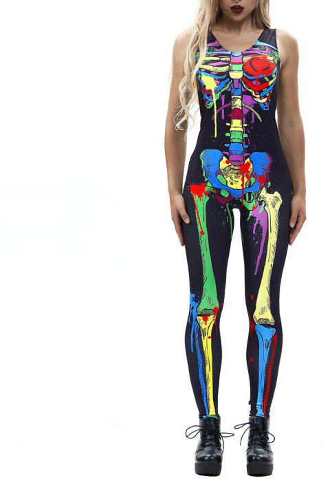 Women's Zipper Printed Halloween Fashion Vest Style Jumpsuit - multicolor G XL