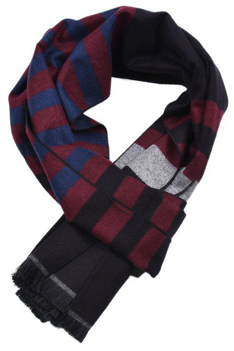 Men Double-Sides Plaid Warm Tassel Scarf Shawl - multicolor B