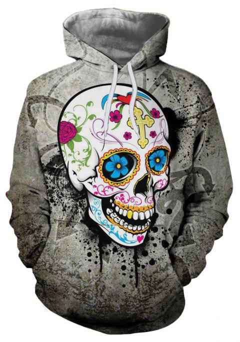 Men's Fashion Horror 3D Skull Print Big Pocket Hoodie Sweater - multicolor XL