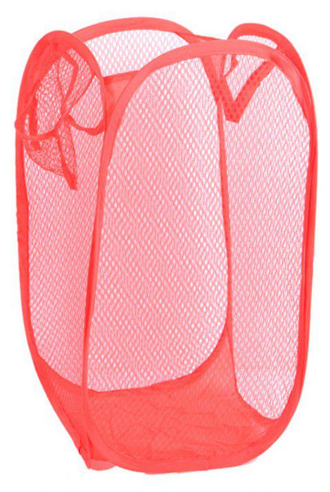 Foldable Mesh Dirty Clothes Storage Basket - RED