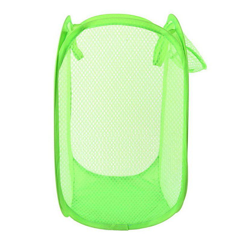 Foldable Mesh Dirty Clothes Storage Basket - GREEN