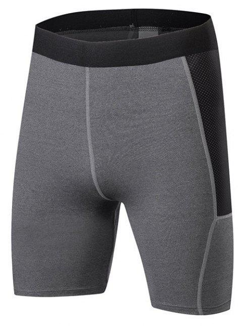 Men PRO Sports Fitness Running Perspiration Quick Dry Shorts - GRAY S