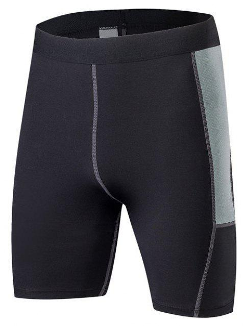 Men PRO Sports Fitness Running Perspiration Quick Dry Shorts - BLACK M