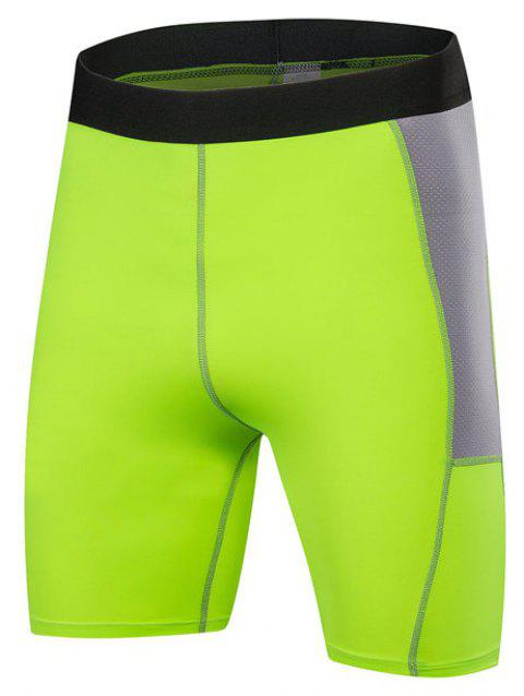 Men PRO Sports Fitness Running Perspiration Quick Dry Shorts - GREEN M
