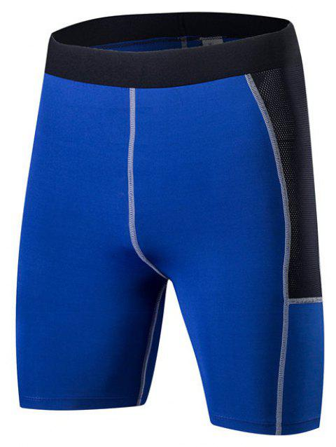 Men PRO Sports Fitness Running Perspiration Quick Dry Shorts - BLUE L