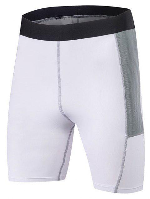 Men PRO Sports Fitness Running Perspiration Quick Dry Shorts - WHITE L