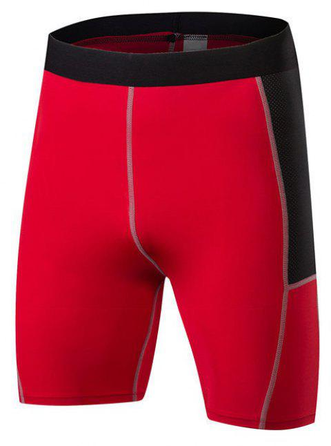 Men PRO Sports Fitness Running Perspiration Quick Dry Shorts - RED M