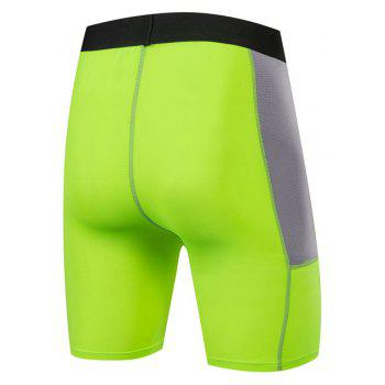 Men PRO Sports Fitness Running Perspiration Quick Dry Shorts - GREEN L