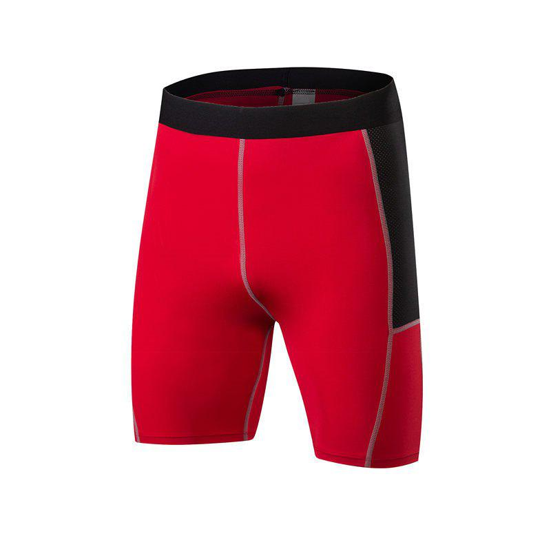 Men PRO Sports Fitness Running Perspiration Quick Dry Shorts - RED 2XL