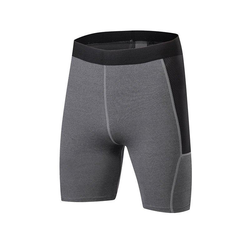 Men PRO Sports Fitness Running Perspiration Quick Dry Shorts - GRAY L