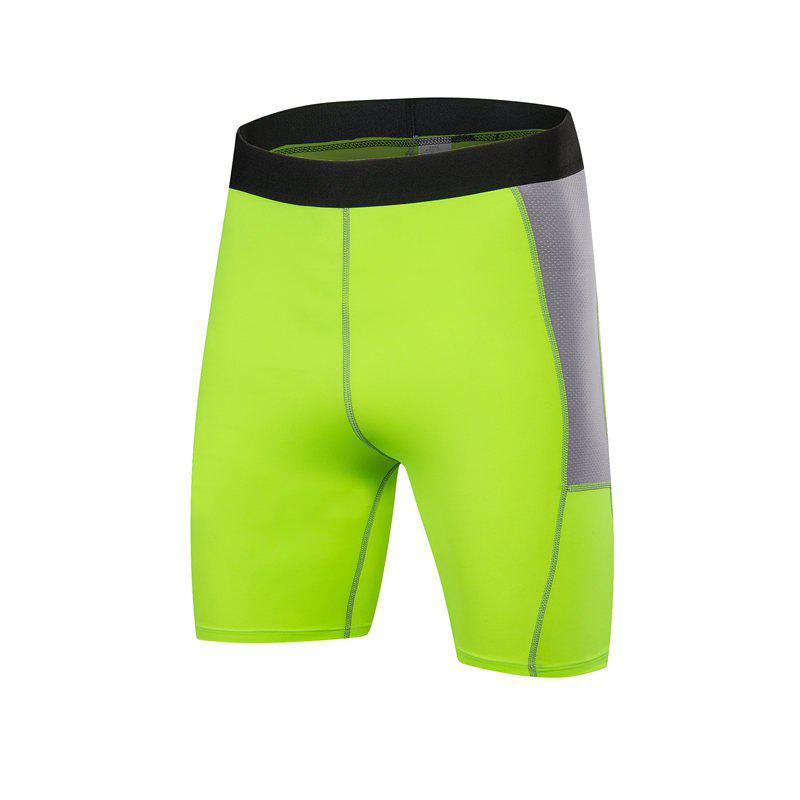 Men PRO Sports Fitness Running Perspiration Quick Dry Shorts - GREEN S