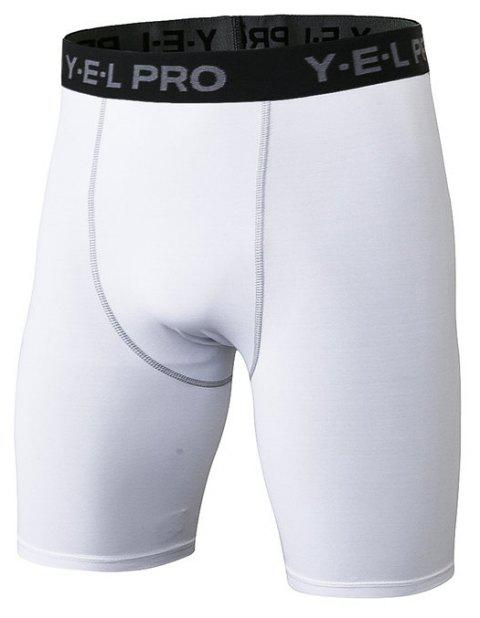 Men's Sports PRO Fitness Running Training Quick Dry Shorts - WHITE L