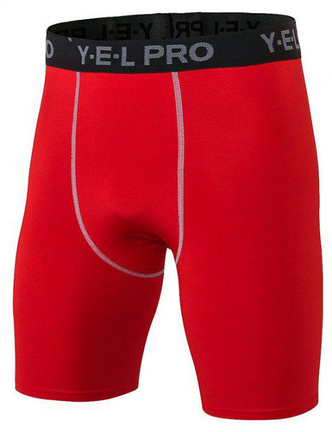 Men's Sports PRO Fitness Running Training Quick Dry Shorts - RED M