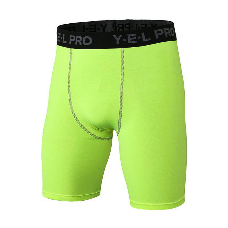 Men's Sports PRO Fitness Running Training Quick Dry Shorts - GREEN L