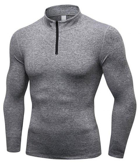 Men's Fitness Running Training Stretch Tight Stand Collar Sweatshirt - GRAY XL
