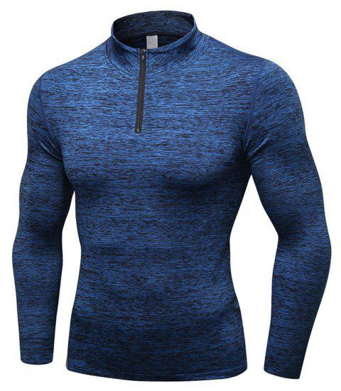 Men's Fitness Running Training Stretch Tight Stand Collar Sweatshirt - BLUE S